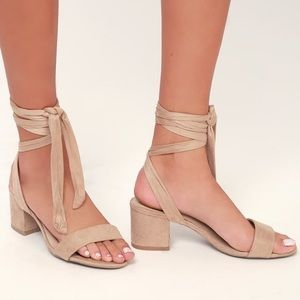 Taupe Faux Suede Lace Up Sandals | Lulus